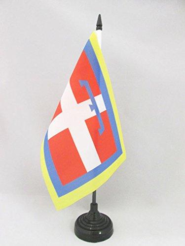 AZ FLAG Bandiera da Tavolo Piemonte 21x14cm - Piccola BANDIERINA PIEMONTESE - REGIONE Italia 14 x 21 cm