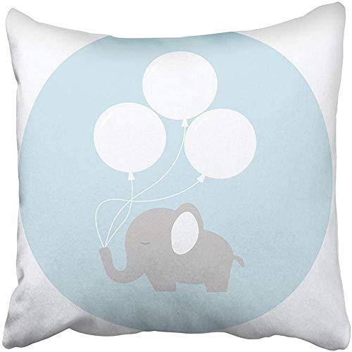 SSHELEY Kissenbezüge Fällen kleine kleine Elefantenbaby mit großen Luftballons auf flachen Stil Tier Tiere Boy Geburtstag Cartoon Kissenbezüge Fall Abdeckung