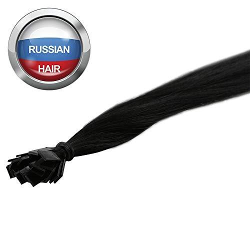 Extensions Cheveux Kératine 100 mèches russes 0,8gr Noir 50cm