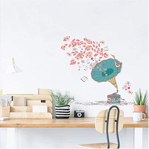 Pegatinas de pared Adesivo de parede de caixa de música de flores papel de...