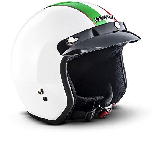 "ARMOR Helmets® AV-47 ""Italy"" · Jet-Helm · Motorrad-Helm Roller-Helm Scooter-Helm Moped Mofa-Helm Chopper Retro Vespa Vintage Pilot Biker Helmet · DOT Schnellverschluss Tasche M (57-58cm)"