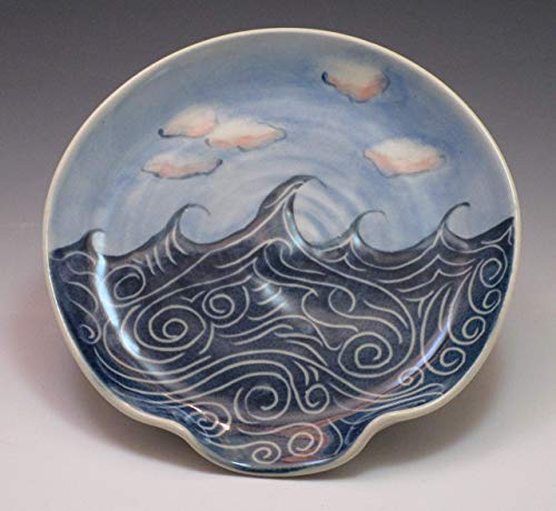 Porcelain Spoon Rest, Handpainted in Wave and Cloud Pattern