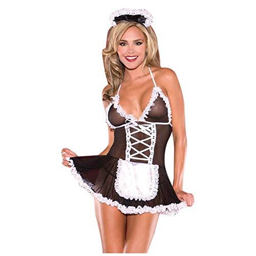 QPYUS Conjuntos De Lencería para Mujer Lencería Sexy De Encaje para Mujer Vestido con Tirantes En Tanga Ropa De Dormir Porno Clothe-Black_L