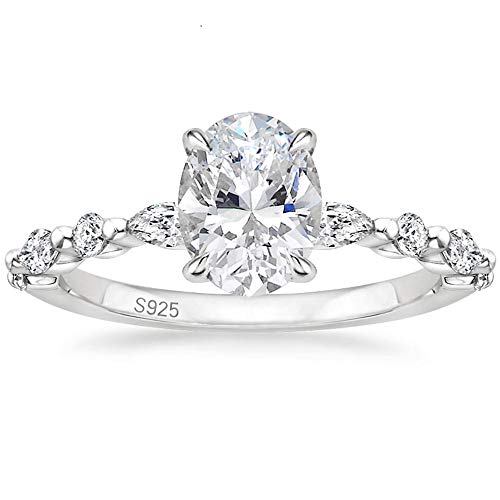 EAMTI 925 Sterling Silver Ring Oval Cut Cubic Zirconia Engagement Rings Solitaire Halo Promise Ring for Women Size 7