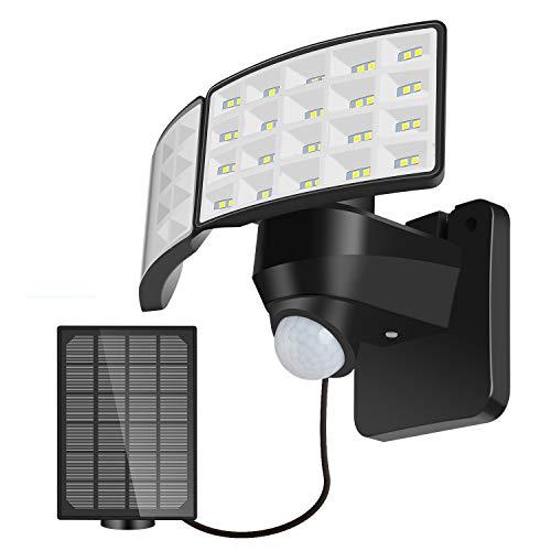 LED Solarstrahler mit Bewegungsmelder, 3 Arbeitsmodus Außen Solarlampe, IP 65 Wasserdicht, 270°Erfassungswinkel, 1400LM Superhelle Solarlampen