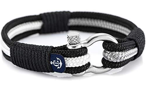 CONSTANTIN NAUTICS SAIL WITH US Maritimes Armband aus Segeltau, handgemacht, für Damen und Herren, mit Edelstahl Schäkel-Verschluss 4mm CNB #3076 20 cm