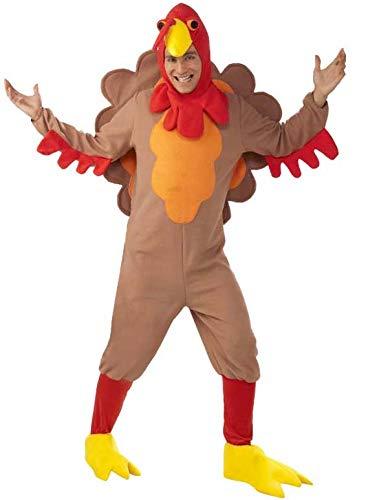 Forum Novelties Men's Adult Fleece Turkey Costume, Brown/Yellow/Red,...