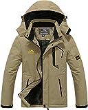TACVASEN Casual Jackets for Men Sports Winter Jacket Fleece Outdoor Skiing Snowboard Jacket Khaki