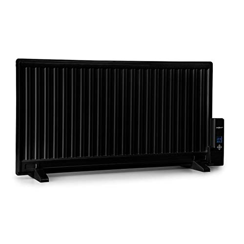 Oneconcept Wallander - Radiador de aceite, Termostato regulable, Cleverheat, Pantalla LED, Recalentamiento, Programable, Protección sobrecalentamiento, Móvil / Pared, 2 patas, 1000 W, Antracita