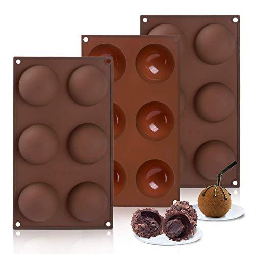 Hoepaid HotChocolateBomb Mold, Cake, Jelly, Pudding, Silicone Chocolate Mold Non Stick, SiliconeMold for Baking (3 pcs)