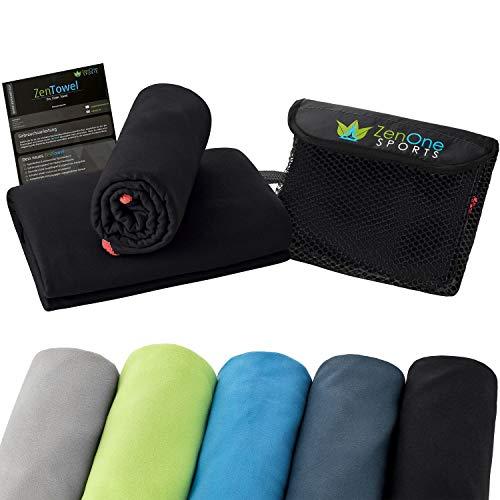 ZenTowel Mikrofaser Handtuch I Leicht & Saugfähig I Premium Fitness-Handtuch I Ideal als Sporthandtuch, Reisehandtuch & Sauna-Handtuch (80 x 150 cm, Schwarz)