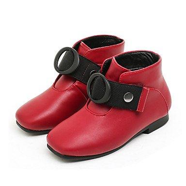 kekafu Zapatos de niñas PU microfibra sintético forro pelusas moda Otoño Invierno Botas/botines botas Bota Botines hebilla para vestido de novia rojo,rojo,US12.5/UE30/UK11.5 Niños pequeños