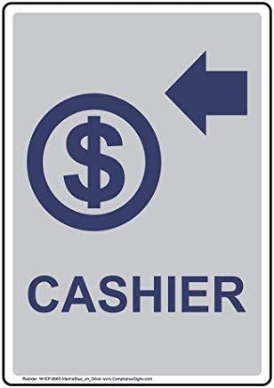 Vertikales Kassenschild, lustiges Wanring Schild, Torschild, Hence Yard Schild, 20,3 x 30,5 cm mit englischem Text und Symbol, Marineblau auf Silber