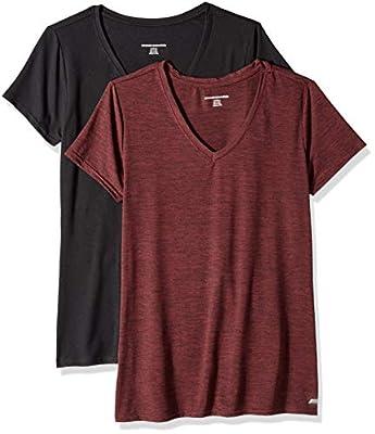 Amazon Essentials Women's 2-Pack Tech Stretch Short-Sleeve V-Neck T-Shirt, Burgundy Space dye/Black, X-Small