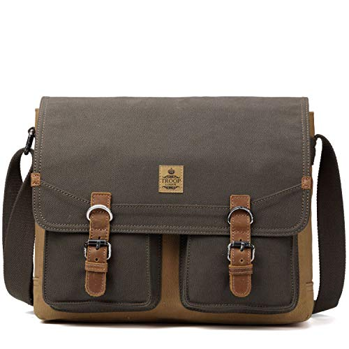 TRP0418 Troop London Heritage Canvas Leather Messenger Bag, Canvas Leather Satchel, Tablet Friendly Shoulder Bag ║ H32 x W37 x D15 cm-Green Camel