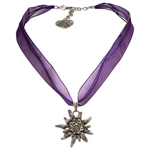 Alpenflüstern Organza-Trachtenkette Strass-Edelweiß - Damen-Trachtenschmuck Dirndlkette lila-violett DHK079