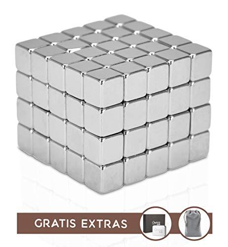 Cubos Magnéticos Antiestrés Premium myHodo con Extras Gratuitos, 100 Imanes Pequeños Extra Fuertes de 5 mm, Idea de Regalo con Tecnología, Cubos Magnéticos para Superficies Magnéticas y Nevera