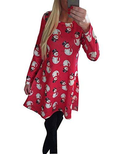 Minetom Mujer Chica Cuello Redondo Manga Larga Impresión Monigote De Nieve Vestido Corto De Navidad Elegante Cóctel Fiesta Mini Dress Rojo ES 36