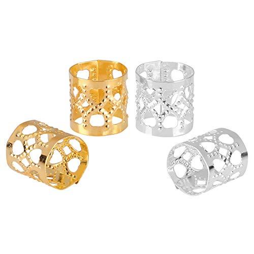 200 Dreadlocks Beads Hair Braid Rings Clips Dread Locks Hair Braiding Metal Cuffs Decoration/Accessories Jewelry(Silver and Golden)
