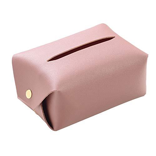 Madeinely Tissue Box Rosa-Leder-Haushaltsseidenpapier Halter und Spender Box Cover-Kasten-Serviette-Halter for Wohnzimmer Für Waschtisch im Bad Countertops (Color : Pink, Size : 11x16X8cm)