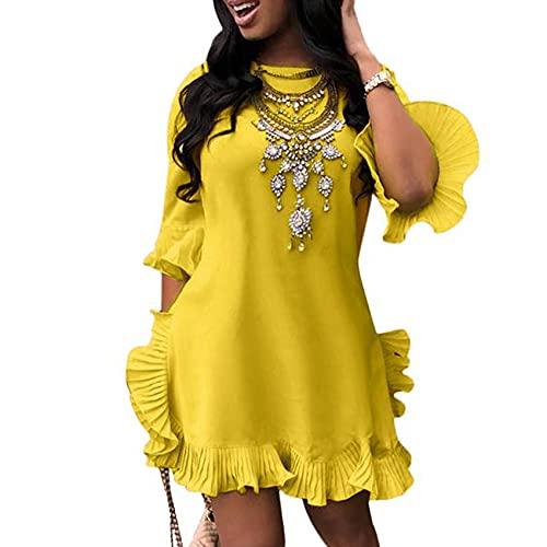 KeYIlowys Damenkleid, Einfarbiges Kleid Mit FüNf SpitzenäRmeln Und RüSchen Mit Rundhalsausschnitt Und Plissiertem UnregelmäßIgem Saum