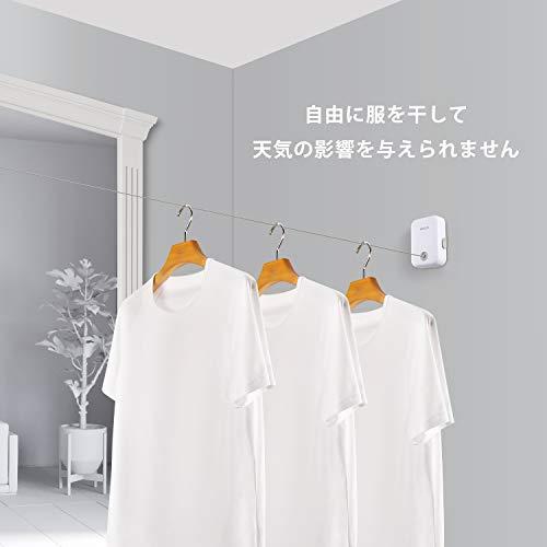スマートでスタイリッシュ。おしゃれインテリアも邪魔しないのが、壁に固定するワイヤータイプ物干しです。壁に穴を開けることなく取り付けられるのがいいですよね。