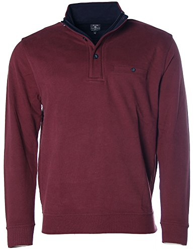 Kitaro Herren Sweatshirt Sweater Troyer Stehkragen Pullover Bordeaux L