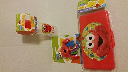 Barril de Elmo Barrio Sésamo para principiantes, bolsa de viaje con toallitas para pañales y sonajero con anillos