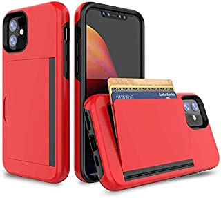 FDTCYDS Heavy Duty Protection with Card Holder,Shockproof Armor Silicone Hybrid Rugged Protective Wallet Cover Case for Ap...