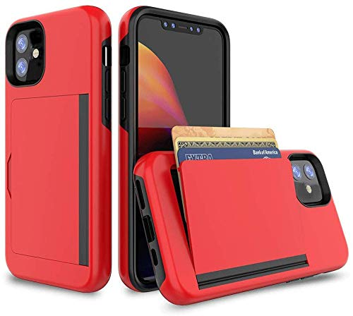 FDTCYDS Heavy Duty Protection Cover Case Shockproof Armor Silicone Hybrid Rugged Protective Wallet Cover Case for Apple iPhone 12 Mini 5.4 inch with Card Holder Edition - Red