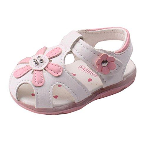 Baby Schuhe Auxma Baby Mädchen Sonnenblume Sandalen beleuchtete Soft-Soled Prinzessin Schuhe (12-18 M, Weiß)