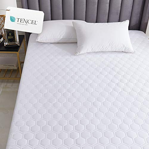 Hometitute Luxury Natual Tencel Quilted Mattress Pad  Breathable Silky Cotton Tencel Cover Stays Cool King