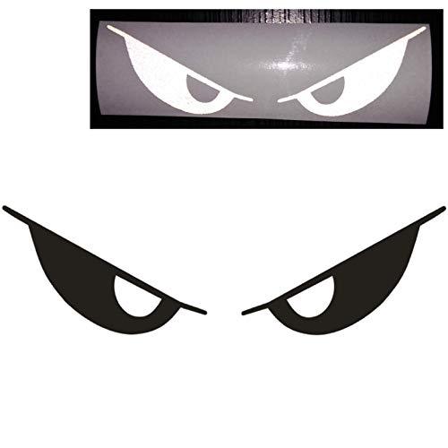 "CUSHYSTORE Black Reflects White Evil Eyes No Fear Decal Reflective Devil Demon Sticker 6"" for Car Helmet Laptop Motorcycle"