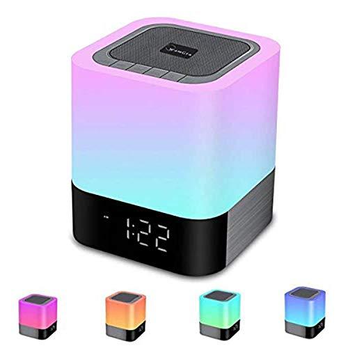 Altavoz Bluetooth Luz Nocturna,Lámpara de Noche Smart Touch,Luz de Noche Multicolor RGB Regulable,Lámpara de Mesa Portatil,Sensor Táctil Lámpara de Cabecera con Reloj Despertador, Reproductor de MP3