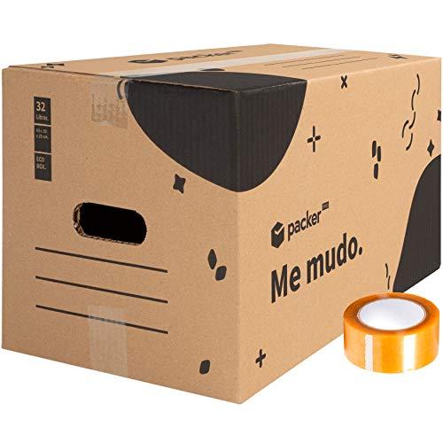 packer PRO Pack 20 Cajas Carton para Mudanzas y Almacenaje con Asas y Precinto Adhesivo 430x300x250mm