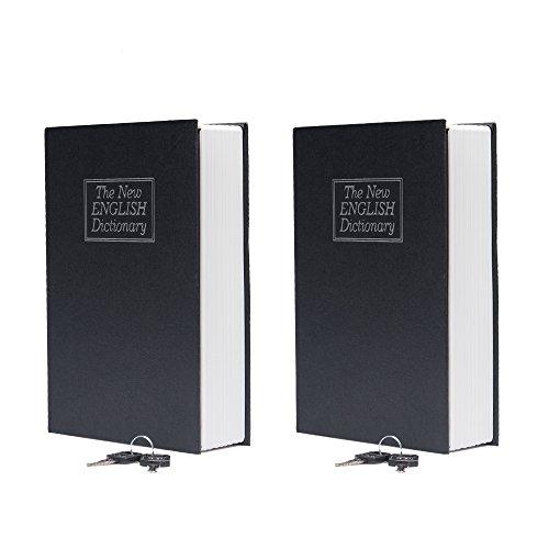 Fasmov Juego de 2 Caja Fuerte para Libros con Cerradura de Combinación Caja Fuerte Portátil para Guardar Dinero, 24 x 15 x 5,5 cm