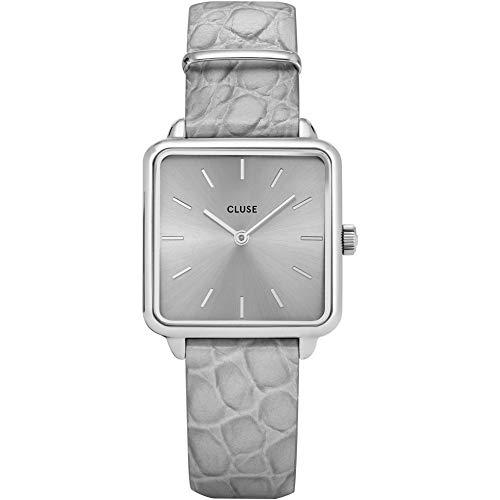 Cluse La Tetragone Reloj de Mujer Cuarzo 28mm analógico Correa de Cuero Color Gris Caja de latón CL60018