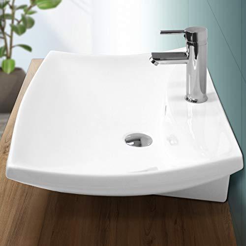 ECD Germany Waschbecken Waschtisch 605 x 460 x 165 mm aus Keramik Weiß Aufsatzbecken Aufsatzwaschbecken Handwaschbecken Aufsatzwaschtisch Spülbecken Becken Wasserfall Waschschale Waschschlüssel