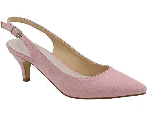 Greatonu Zapatos de Tacón Rosados de Modas Cómodos con los Tacones de Baja para Mujer Tamaño 41 EU