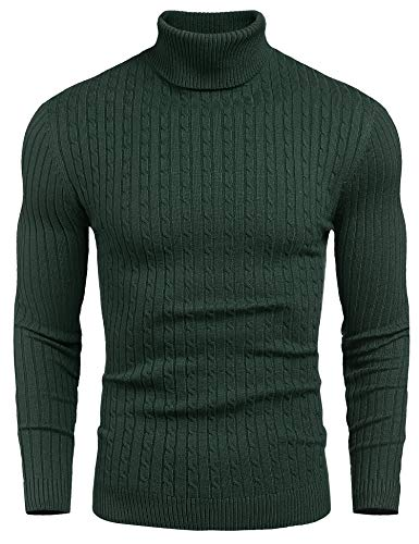 nine bull Mens Slim Fit Turtleneck Sweater Cable Knit Thermal Pullover Sweater, Green,S