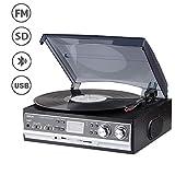 JORLAI 33/45/78 Plattenspieler mit LCD Display FM AM Radio Vinyl-Spieler mit Bluetooth USB / SD Aufnahme und MP3-Player 3,5-mm-AUX-Cinch- und Kopfhörerausgang für Externe Lautsprecher