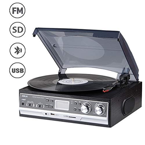 JORLAI 33/45/78 Tocadiscos con Pantalla LCD Radio FM Am Reproductor de Vinilo con Grabación...