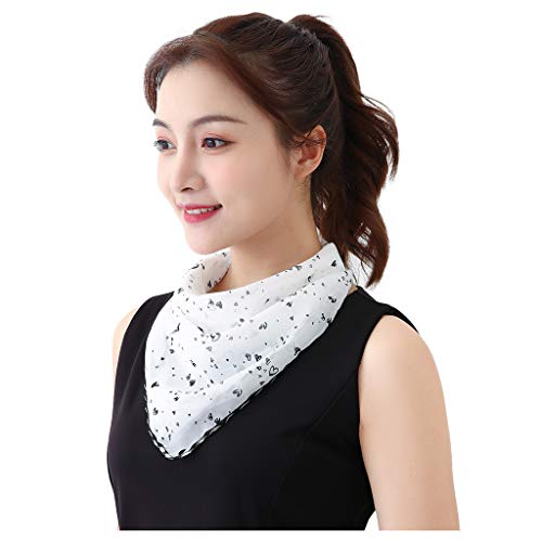 Women's Sun Protection Mask Silk Neck Scarf Masks Seamless Face Mask Bandanas for Dust, Outdoors, Festivals, Sports White