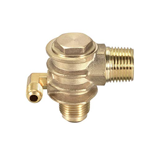 sourcing map Air Compressor Check Valve, G1/2 x 3/4'-16 UNF x M10 Male Thread, 3 Way Pneumatic Accessory, Brass