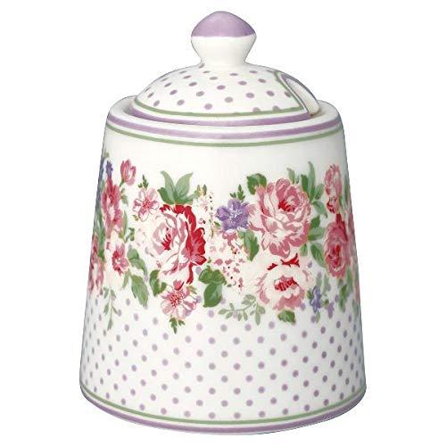 GreenGate - Zuccheriera Sugar Pot con Coperchio, Colore: Bianco Rosa