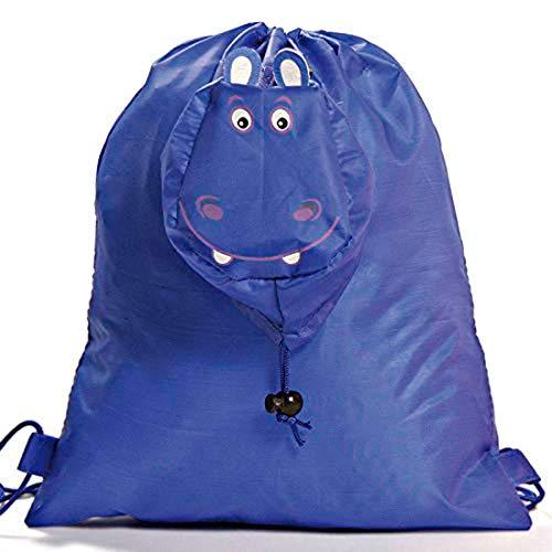 Lote de 20 Mochilas Plegable Animales Hipopótamo. Color Azul. Mochilas Escolares, Guarderías, Colegios, Ofertas