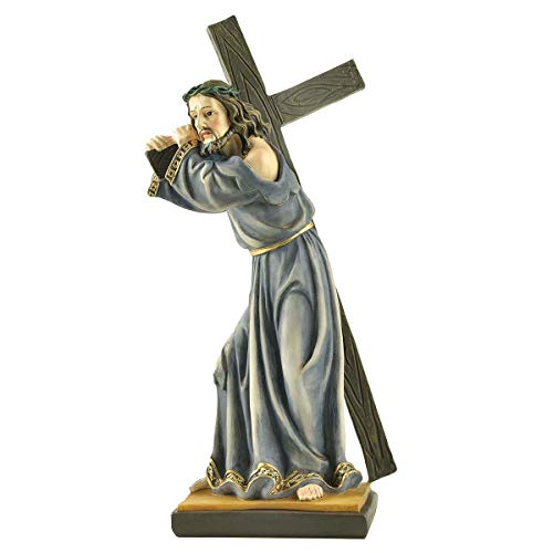 Religious Resin Figurine Jesus Carrying Cross on The Way to Calvary Statue(7.8 Inch Tall)
