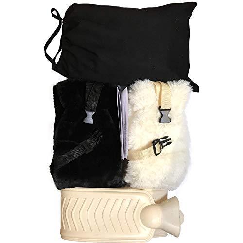 Warmwaterfles Extra lang 85cm, lichaamslengte voor bed, rustgevende warmtebehandeling, Thermotherapie en wordt geleverd met 2 luxe, superzachte, imitatiebont hoezen met verstelbare Clip-on bandjes