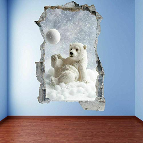 OMCCXO Wall Sticker 3D Polar Bear Cub Snow Self-Adhesive Removable Break Through The Wall Vinyl Decor 15.7x23.6inch(40x60cm)