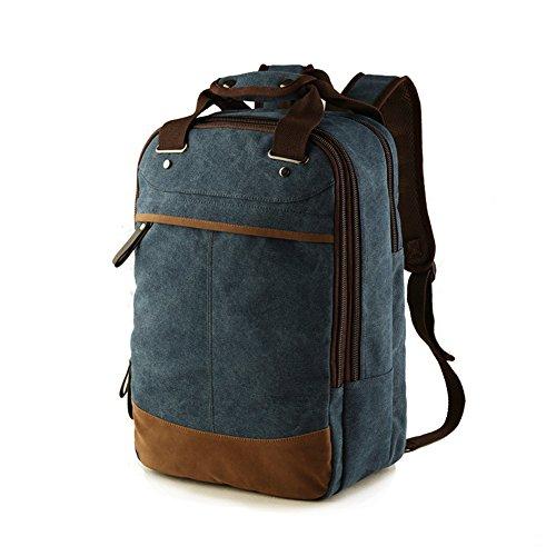 MiCoolker Canvas Messenger Backpack Men's Travel Satchel Handbag Student Casual Schoolbag Tote Bag Dark Blue